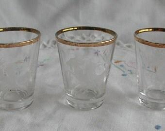 Vintage White Horses Shot Glasses Set of Three