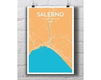 Salerno, Italy - City Map Print