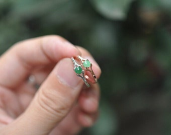 sterling silver natural jade ring, jade solitaire ring