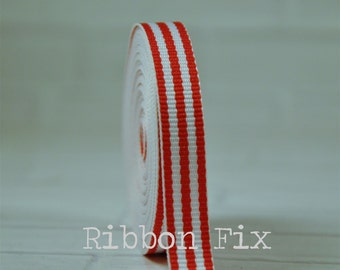 """2 yards 3/8"""" Red & White Stripe Grosgrain Ribbon - Woven Stripes - 4th of July - Korker Bows - Home Decor - Dog Collar Leash - Sewing - DIY"""