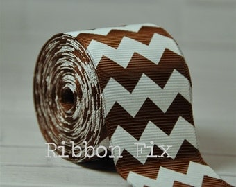 "2 yards 1.5"" Brown Chevron Stripe Grosgrain Ribbon - Wedding - White - Craft - Sewing - Zig Zag - Party - Home Decor - Cheer Bow - Baby"