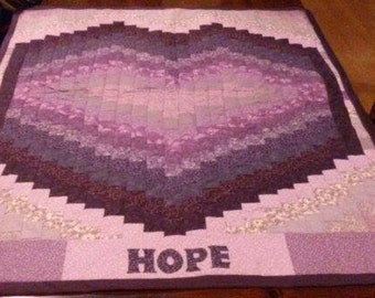 Bargello-style Hope cancer-awareness quilt, made for Relay for Life