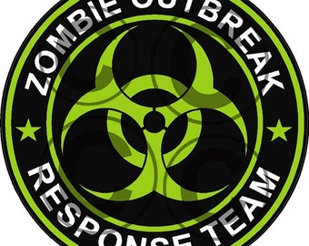 "1 - 4"" Zombie Outbreak Response Team Decal Neon Green"