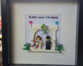 Luxury wedding LEGO® picture - personalised for the bride and groom
