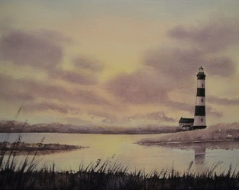 Bodie Island Lighthouse Watercolor Giclee print, North Carolina lighthouses, Outer Banks, Cape Hatteras