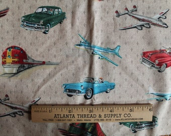 Planes Trains and Automobiles by American Vintage  Cotton Fabric  Remnant 14X22
