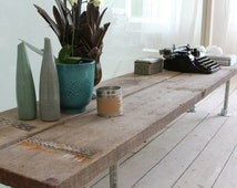 Blake Reclaimed Scaffolding Boards and Galvanised Steel Pipe Long Low TV Console Bench - Made to Measure Furniture by www.urbangrain.co.uk