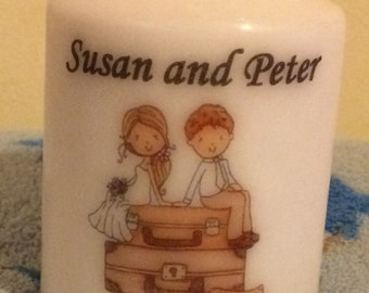 Personalised just married couple wedding candle favour 8cm