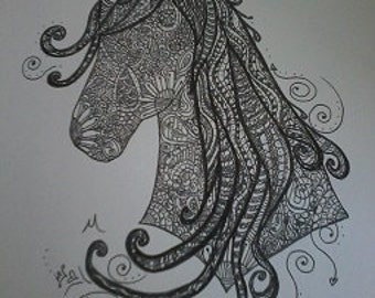 Zentangle Horse A4 Art Print