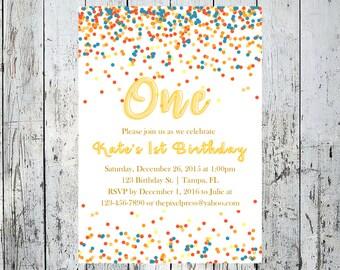 Rainbow Gold 1st Birthday Invitation