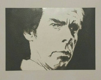 Nick Cave Original Acrylic painting on Cellopane, black and white portrait, By Ofer Maimon