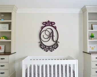 Wooden Monogram Letters, Wooden Initials, Wooden Letters for Nursery Wooden Wall Art Nursery Decor Unpainted Wood Letters in Victorian Frame
