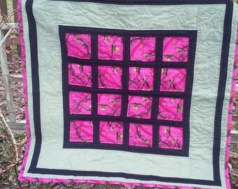 pink camo block quilt