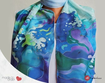 Sea scarf, Blue scarf, Ocean waves, Summer blue scarf, Long scarf, Marine motifs, Ocean painting, Boutique accessory, Gift for her