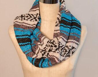 Aqua Blue Mexican Blanket Infinity Scarf