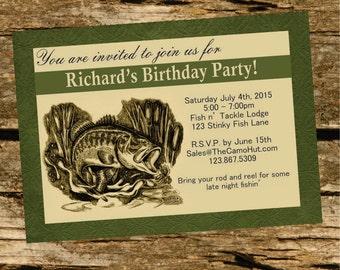 Bass Fishing Invitation Digital File or Printed