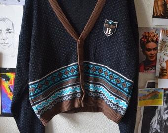 Vintage Bugle Boy Cardigan - Grunge cardigan - grunge sweater - navy blue sweater - bugle boy