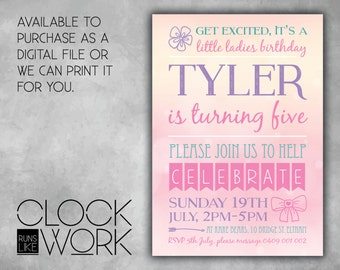 Kids Invitations, Birthday, Party, Printed or Digital File Available, Little Lady