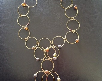 copper wire and bead necklace