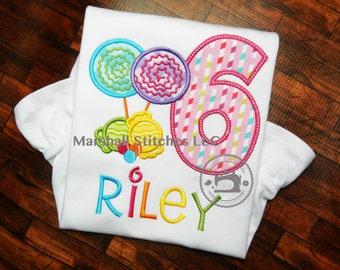 Candy Land Birthday Shirt 1-9!/ Candy Birthday Shirt/ Candy Birthday Applique Shirt/ Lollipop Birthday Shirt