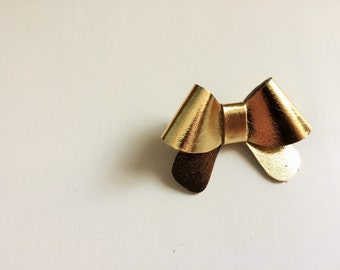 "Metallic gold leather ""Helen"" bow - small - headband - alligator clip"