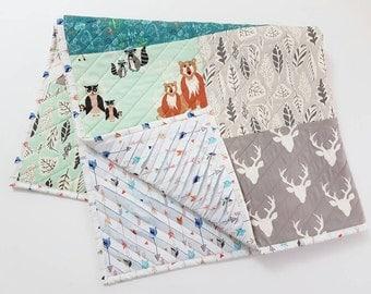 Baby Quilt, Woodland Nursery, Toddler Quilt, Patchwork Quilt, Baby Blanket, Crib Bedding, Nursery Bedding, Baby Boy Quilt, Quilt, Baby Boy,