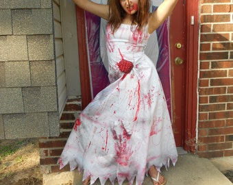 Adult Costume Zombie Bloody wedding Dress size 8/9