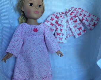 Flannel nightgown and bed jacket for 18 inch doll