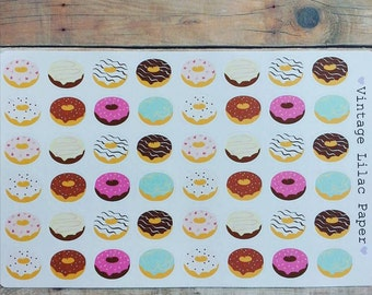 48 Donut Planner Stickers: Perfect for Erin Condren, Happy Planner, and Personal Planners!