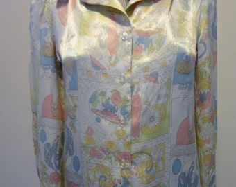 Vintage 1970's Poly Satin Blouse