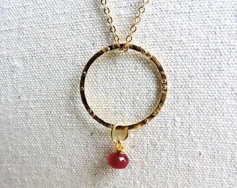 Genuine Ruby & Gold Ring Pendant - Precious deep red ruby faceted gemstone on hammered gold circle - Long karma necklace - July birthstone