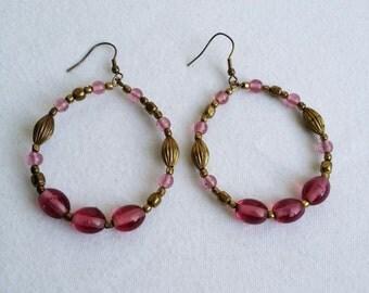 Beautiful Gold Tone Beaded Wire Hook Dangle Earrings.