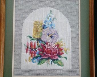 Framed Tapestry Picture. Framed Vintage Tapestry Picture. Australian Flowers Tapestry Picture. ROP0069