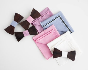 WOODEN BOW TIE + Pocket Square