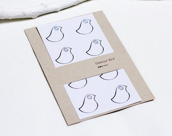 Glamour Bird Round Stationary label Stickers, A set of eight.