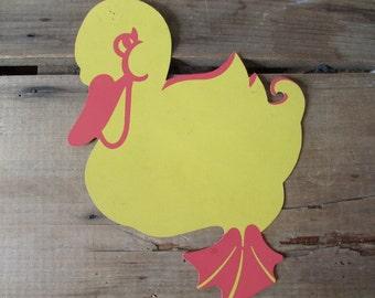 Die Cut Duck Vintage Easter Duckling Cardboard