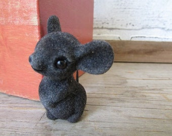 Vintage Tiny LIttle Flocked Mouse