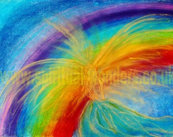 Angel with Rainbow, Print, A6 Card, Celestial Healing Art by Eva Maria Hunt, Angels, Balancing the Chakras