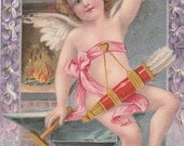 antique embossed postcard valentine cupid with arrows and heart posted 1911
