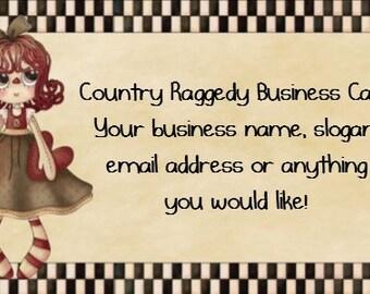 Country Raggedy Customized U Print Printable Business Card PDF and JPEG file