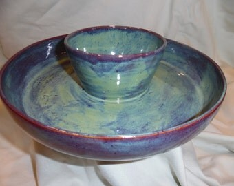 Hand Thrown Chip and Dip Bowl
