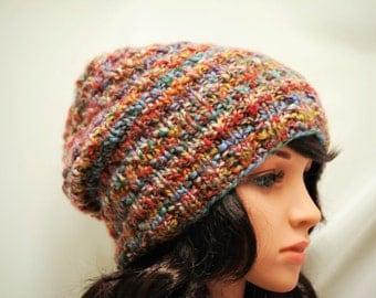 Handknit Winter Hat, Handmade Wool Hat