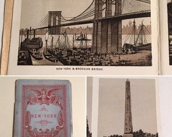 1880s Souvenir View Album of New York City, Antique Photo-Lithographs the Brooklyn Bridge, Wall Street, Grand Central, Etc.