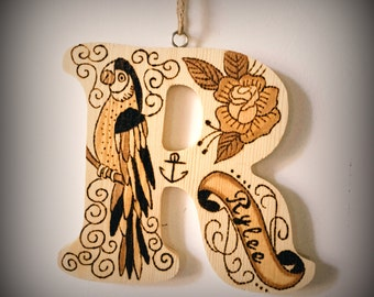 Wooden letters for children - Pyrography