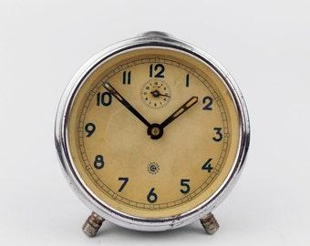 Vintage 1950s Alarm clock CHRONOTECHNA Made in Czechoslovakia Desk Table Watch
