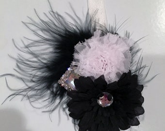 Flower cluster head piece - headband or clip - black and White, White and Blues