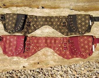 Burning man utility belt festival pocket belt hip bag fanny pack funky seed life leaf sacred geometry travel money belt double large UB13