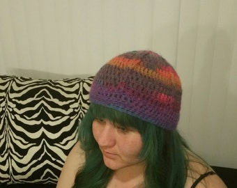 colorful crochet beanie