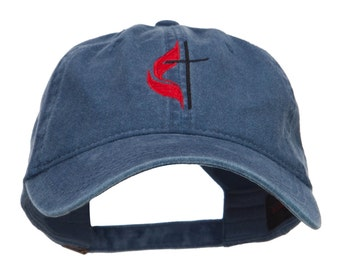 Methodist Church Cross Embroidered Washed Cap