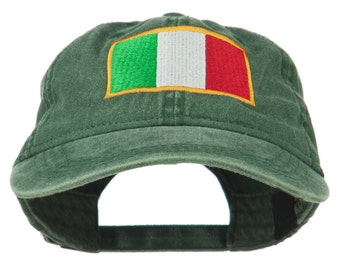 Italy Flag Embroidered Washed Cotton Twill Cap